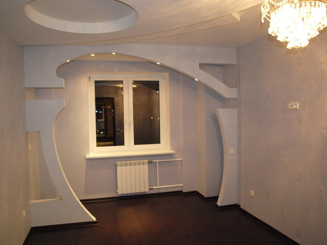 Как сделать стенку в зал из гипсокартона фото